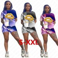 Kadınlar Eşofman Gradyan Renkler Dudaklar Harf Tasarımcı Kısa Kollu T Shirt Şort İki Adet Set Kıyafetler Günlük Spor Suit S-2XL D7206