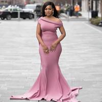 Африканских невесты атласных платьев Dusty Pink Русалка Весна Лето Деревня Сад Формальной Свадьба мантии Плюс Размер сшитый