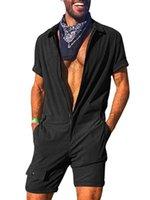 Мужчины Romper Комбинезон с коротким рукавом Грузовой Комбинезон легкий костюм с шортами Мода One Piece Zipper Solid Brand New Повседневный Streetwear
