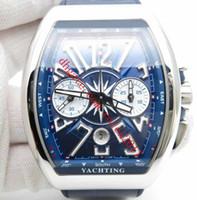 منتجات رجالية Vanguard 44mm Watch 7750 Faljoux الحركة التلقائية مع ساعة كرونوغراف ووتش الزرقاء الطلب الأزرق أرقام مشبك