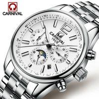 Men Watch meccanico automatico impermeabile orologio da polso Relogio Masculino Sapphire Stainless Steel Band Moon Phase CARNEVALE