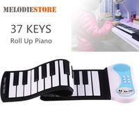 37 키 실리콘 유연한 손 롤 위로 피아노 소프트 휴대용 전자 키보드 오르간 음악 선물 어린이 학생