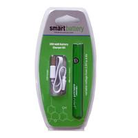 Whole Sale variable Tension Préchauffage Smart Cart batterie Smart Green Carts 380mah 510 fil de la batterie E Batteries Cigarette avec chargeur USB
