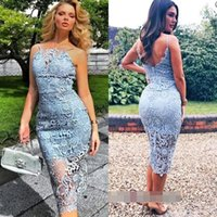 Cheap Lace Cocktail Dresses Sheath with Spaghetti Straps Tea...