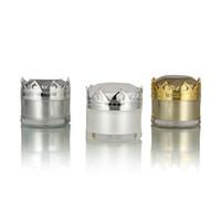 5G 10G Cosmetic Creme Frasco Frasco Luxo Vazio Cosméticos Recipiente com Coroa Tampão Branco Ouro Prata