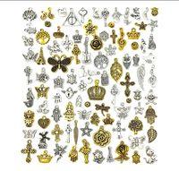 100 шт. Оптовая насыпные лоты Ювелирные изделия изготовления прелестей смешанные античные серебряные подвески серебряные подвески для ожерелья браслета