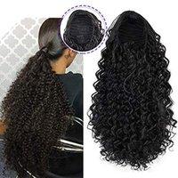 Afro Kinky Curly cordão rabo de cavalo clip em extensão do cabelo curto preto ondulado natural, Olhar virgem brasileira remy peruca