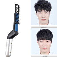 Men Styler Brush Comb Hair Straighteners Curlers 2 in 1 Flat...