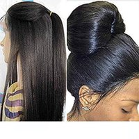 Yaki straight brazilian hair lace front wig for black women ...