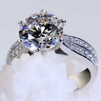 Classic Engagement Ring 6 Claws Solid Color 925 Sterling Sil...