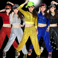 Femmes Moderne Paillettes Hip Hop Danse Tops + Pantalons Costume Hommes Party Performance dancewear Adulte Jazz dance clothing Customes