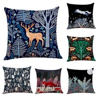 Nordic Animals Linen Cushion Covers Home Office Sofa Square ...