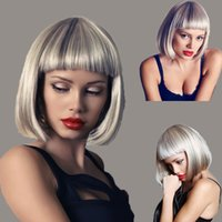 Women fashion short straight wigs Bob short hair white and g...