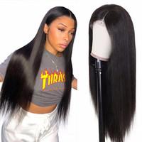 Brésilien noir longue soyeuse droite perruque pleine perruque de cheveux humains résistant à la chaleur résistant à la dentelle synthétique gluante perruque avant pour les femmes de la mode