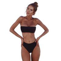 Mulheres Bandeau Bandage Bikini Set Push-Up Brasileiro Swimwear Beachwear Swimsuit Solto Batik Verão Causal