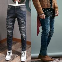 Мода дизайн мужские стежка деталь пэчворк огорченный увядающий тонкий подходящий джинсовые хлопковые джинсы 5 карманов