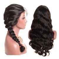 360 полного шнурок бразильских волос на тело человека парики волны с волосами младенец Pre щипковых 150 Плотности Glueless Virgin Hair 360 Lace фронтальных париков
