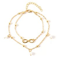 European and American fashion hot sale pearl 8 word anklet jewelry female hand-beaded double chain footwear beach footwear wholesale