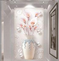مخصص جدارية خلفية 3d تنقش بسيط المنزل وغنية زهرية داخلي الشرفة خلفية الجدار الديكور جدارية خلفية