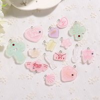 21pcs mignon coeur moon fond plat de résine résine collier pendentif boucle d'oreilles pour la décoration de bricolage