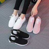 Sınır ötesi büyük spor ayakkabıları bayan koşu ayakkabıları küçük beyaz ayakkabı dokuma uçmak kadın düz dipli Lace Up Kore rahat ayakkabı yönlü