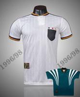 التايلاندية Jacqu 1996 1998 ألمانيا الرجعية لكرة القدم الفانيلة قميص بعيدا قميص Klinsmann Sammer Kuntz Bierhoff Möller 96 97 98 Classic Football Shirts