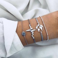 4pcs set Heartbeat Bracelet World Map Bracelets Alloy ECG Ma...