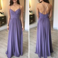 Cross Back A Line Chiffon Beach Bridesmaid Dresses 2019 Sexy...