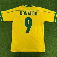 Top 1998 Brasilien Retro Fussball Jerseys Vintage Classic Ronaldo 9 Rivaldo 10 R.Carlos 6 Cafu 2 Dunga 8 Thailand Qualitätsuniformen Fußballhemden Camiseta Futbol Größe S-XXL