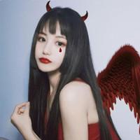 Meifan Moda Lolita Peruk Halloween Uzun Kadınlar için Bangs Isıya Dayanıklı Sentetik Saçlı Düz Cosplay Peruk