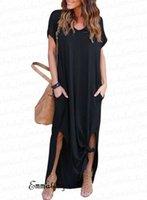عارضة فستان طويل ماكسي الخامس الرقبة M-4XL زائد حجم المبيعات الساخنة النساء اللباس الأنيق قصيرة الأكمام الطابق طول الصيف