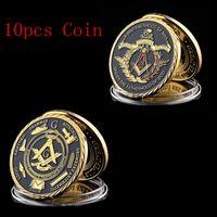 10 قطع الماسونية علامة تذكارية شارة كرافت سلسلة الماسون اكسسوارات الذهب مطلي التحدي عملة