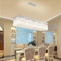 Modern basit LED sıcak romantik uzun şerit dikdörtgen restoran ışıkları yemek odası yemek asılı kristal lamba asılı fikstür LLFA