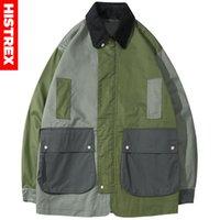 2020 hombres Streetwear chaqueta rompevientos Harajuku retro del bloque del color de las chaquetas los bolsillos del abrigo de Hip Hop de la vendimia del collar chaqueta de pana