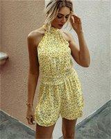 Pantalones de cintura sin mangas corta calle mamelucos del verano del estilo de ropa de moda para mujer para mujer del mono de la flora impresos de alta