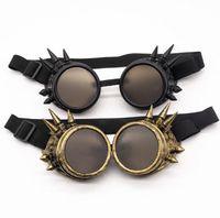 리벳 고딕 양식의 안경 빈티지 펑크 안경 고글 스팀 펑크 안경 코스프레 빈티지 용접 고딕 양식의 선글라스 안경 파티 호의 GGA3157-2