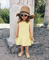 Ins design new summer yellow striped A word skirt girls baby...