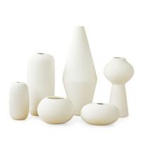 Unglasierte weiße keramische Bisque-Vase-Blumen-Mittelstücke mit horizontalen Streifen Zen Spirit Home Office Cafe Spa Dekoration Handwerk