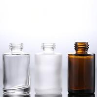 480pcs / много стекла 30ml очистить матовые коричневые пустые стеклянные бутылки капельницы Оптовая 30мл стеклянные жидкостные бутылки с черной белой крышкой