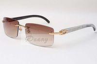 Venta al por mayor Gafas de sol sin marco calientes 3524012 Mezcla natural Cuerno de buey hombres y mujeres gafas de sol gafas gafas de soles: 56-18-140mm