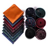 2021 Männer Streifen Taschenquadrate und Krawatte Set Taschentuch Hankies Anzug Krawatte Set Gentlemen Brautsgroom Groomsman