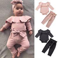 Baby Mädchen Kleidung Set Rüschen Strampler Langarm Kleidung Mädchen Elastische Taille Pants Candy Farbe 2 Stück Anzug 0-3T 04