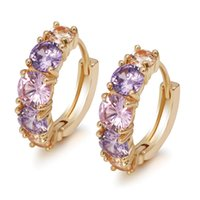 MGFam (689E) Pink Multicolor Round Zircon Hoop Earrings For Women Gold Plated 18k Fashion Jewelry