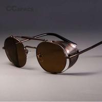 CCSPACE Retro Runde Metall Sonnenbrille Steampunk Männer Frauen Markendesigner Brille Oculos De Sol Shades UV-Schutz