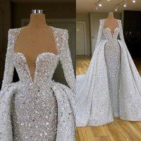 2020 novos vestidos de casamento de brilho com trem destacável manga comprida frisado vestido de novia vestidos de casamento lantejoulas vestes de mariée