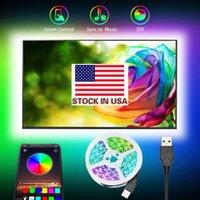 주식 US + DC 5V RGB USB LED 스트립 라이트 5050 3M 90LEDS LED 조명 RGB LED 블루투스 앱으로 유연한 테이프 리본
