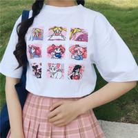 Nouveau mode féminine d'été grande taille Casual lettres de bande dessinée Harajuku ulzzang Sailor Moon manches courtes drôle moitié T-Shirt WGNVTX37
