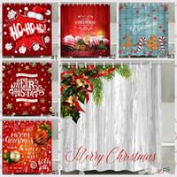 Shower Curtain Natal Papai Noel Boneco de neve impermeável 3D Impresso Casa de Banho Poliban com ganchos Decoração Cortina GGA2753