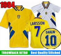 Retro 1994 Svezia Soccer Jersey 94 Dahlin Brolin Larsson Ingesson Classic Vintage Camicie da calcio Calcio Hot Ibrahimovic 10 Berg Svensson 20
