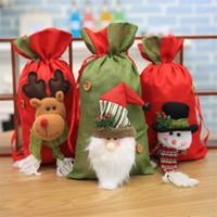 Natal de Santa Sack doces do presente do bolinho Sacos de Santa Snowman Elk Stocking com cabo de cordão Holiday Party Xmas Decoração JK1910